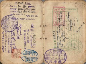 1940 visa issued by consul Sugihara in Lithuania