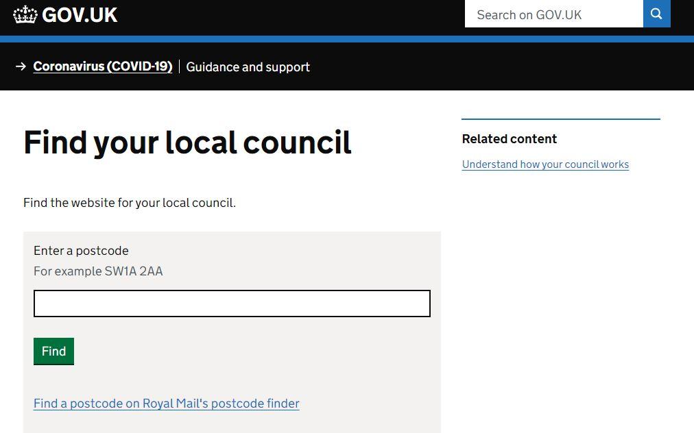 「GOV.UK」各地方自治体のCouncil Taxに誘導するページ